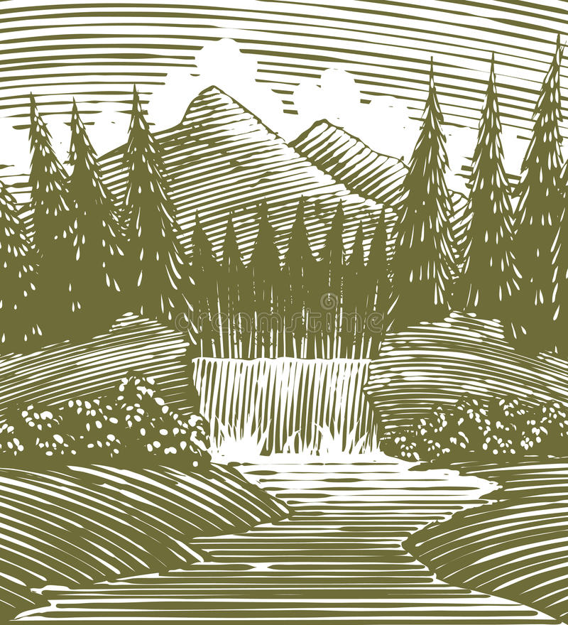 Download Woodcut Waterfall Wilderness Stock Illustration - Image: 30755581