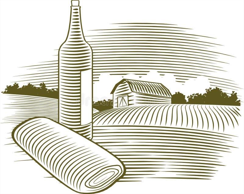 Woodcut Wine Bottle vector illustration