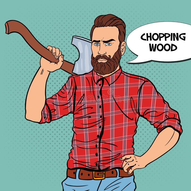 Woodcutter with Beard and Axe. Lumberjack Worker. Pop Art vintage illustration stock illustration