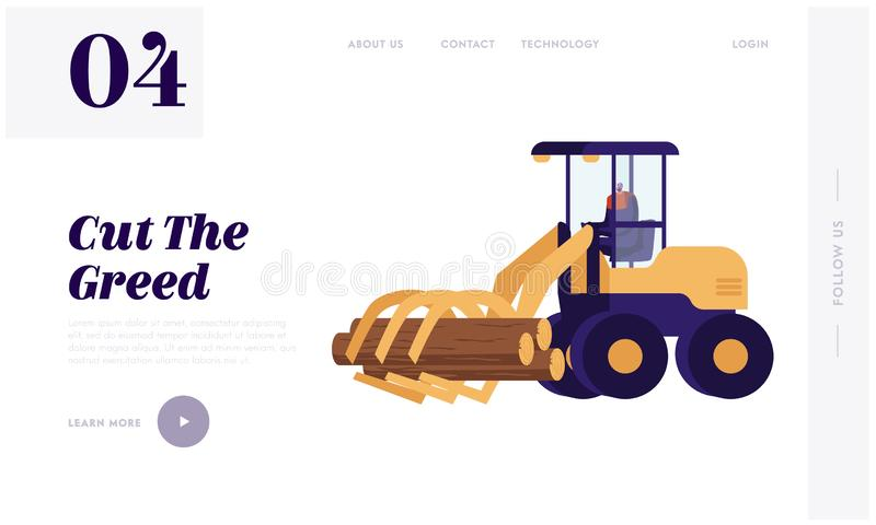 Woodcutter Truck Tree in Forest Website Landing Page. Lumberer Driving Log Harvester Working at Forest Area Delimbing. Cutting and Sorting Wood Pile Web Page vector illustration