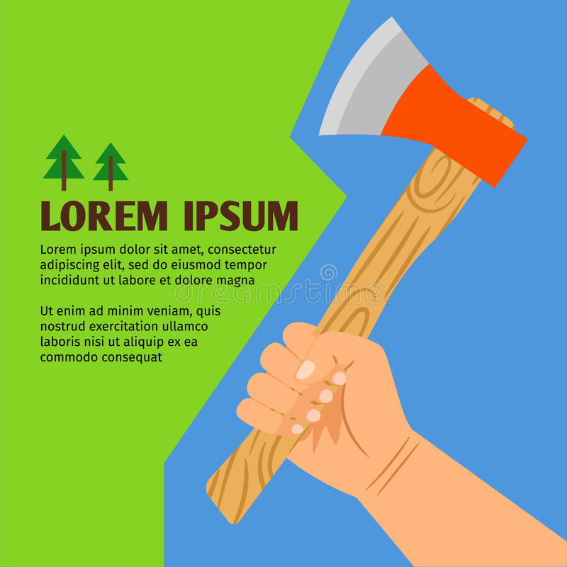 Woodcutting colorful poster vector illustration