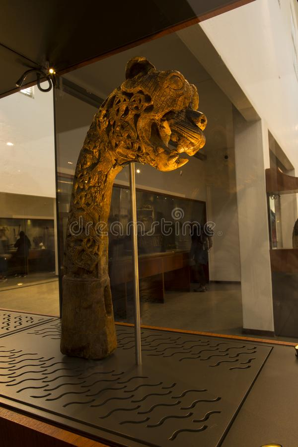 Wooded dragon head sculpture at viki ship museum. Vikings ship museum at city Oslo in Norway stock images