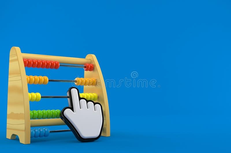 Wooden abacus with web cursor. Isolated on blue background. 3d illustration stock illustration