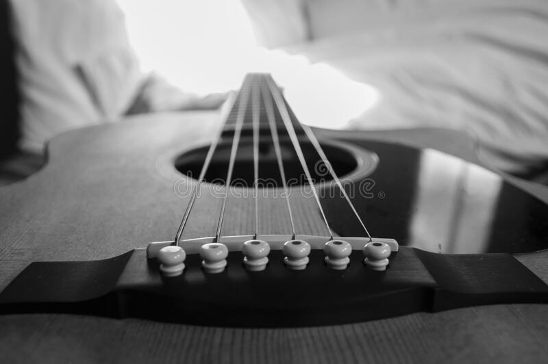 Wooden Acoustic Guitar Macro Photography In Grayscale Photo Free Public Domain Cc0 Image