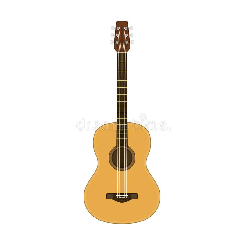 Wooden acoustic guitar. royalty free illustration