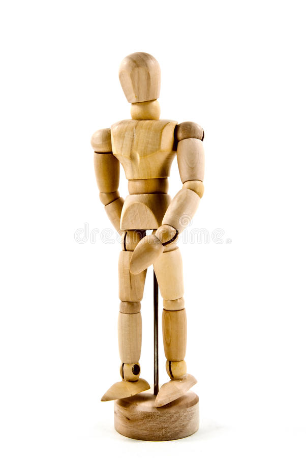 Wooden action figure. For drawing stock photos