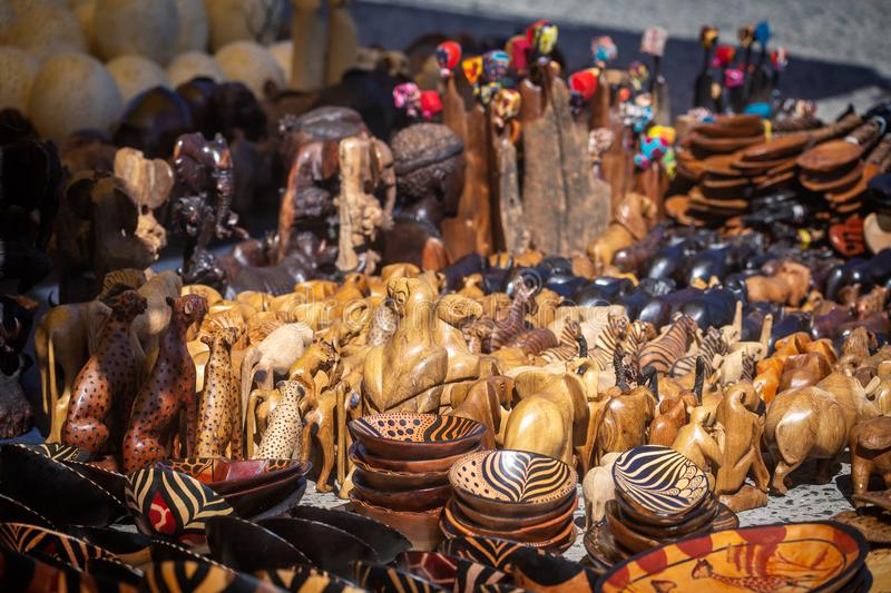 Wooden african souvenirs on sale at Cape Town market stock image