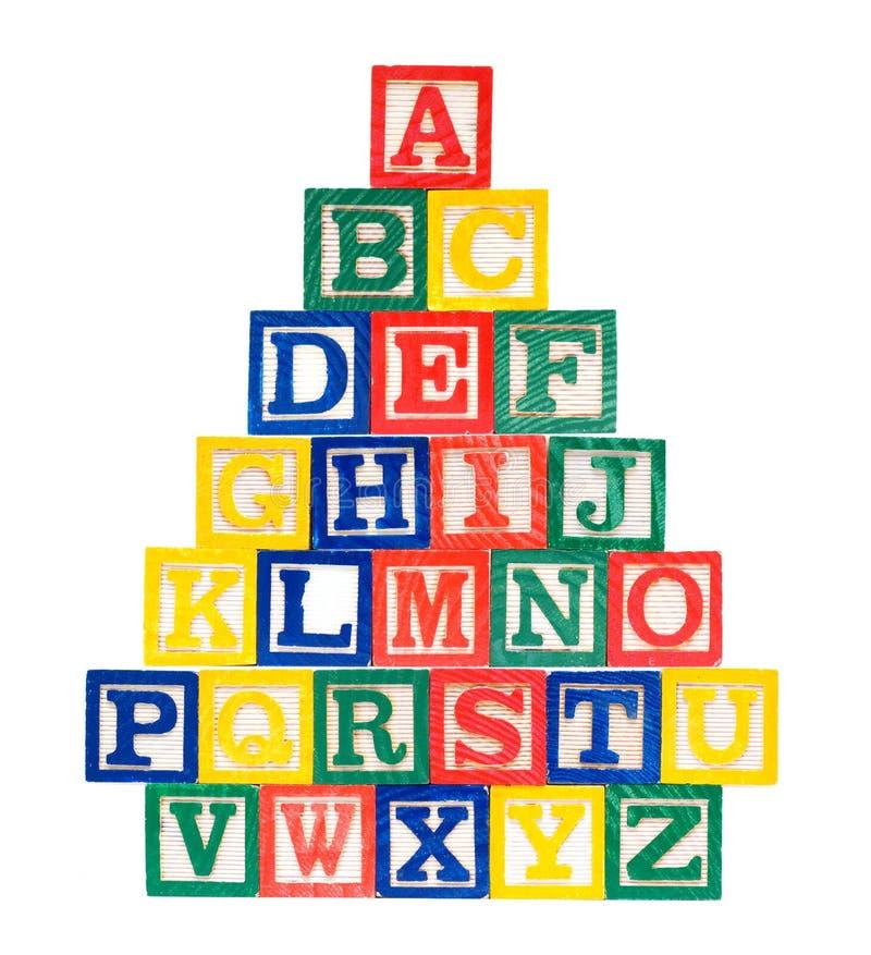 Wooden Alphabet Blocks isolated on white background royalty free stock photo
