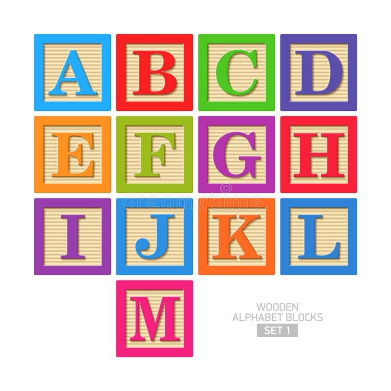Wooden alphabet blocks royalty free illustration