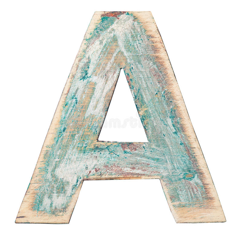 Wooden alphabet. Painted wood alphabet, letter A royalty free stock photos
