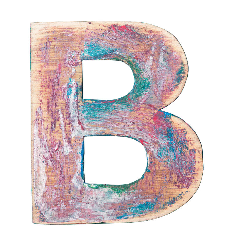Wooden alphabet. Painted wood alphabet, letter B royalty free stock photo