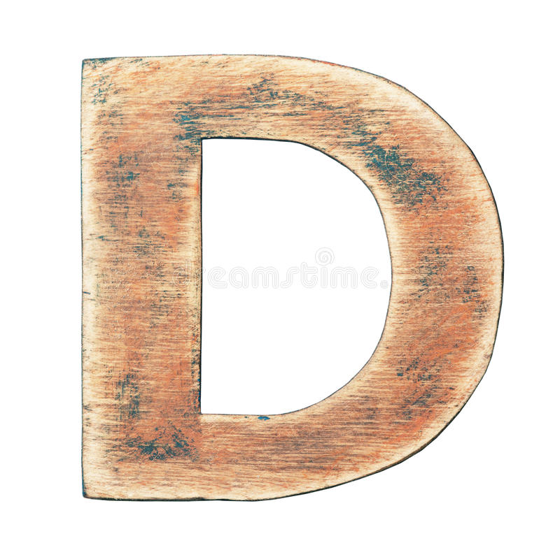 Wooden alphabet. Painted wood alphabet, letter D royalty free stock image