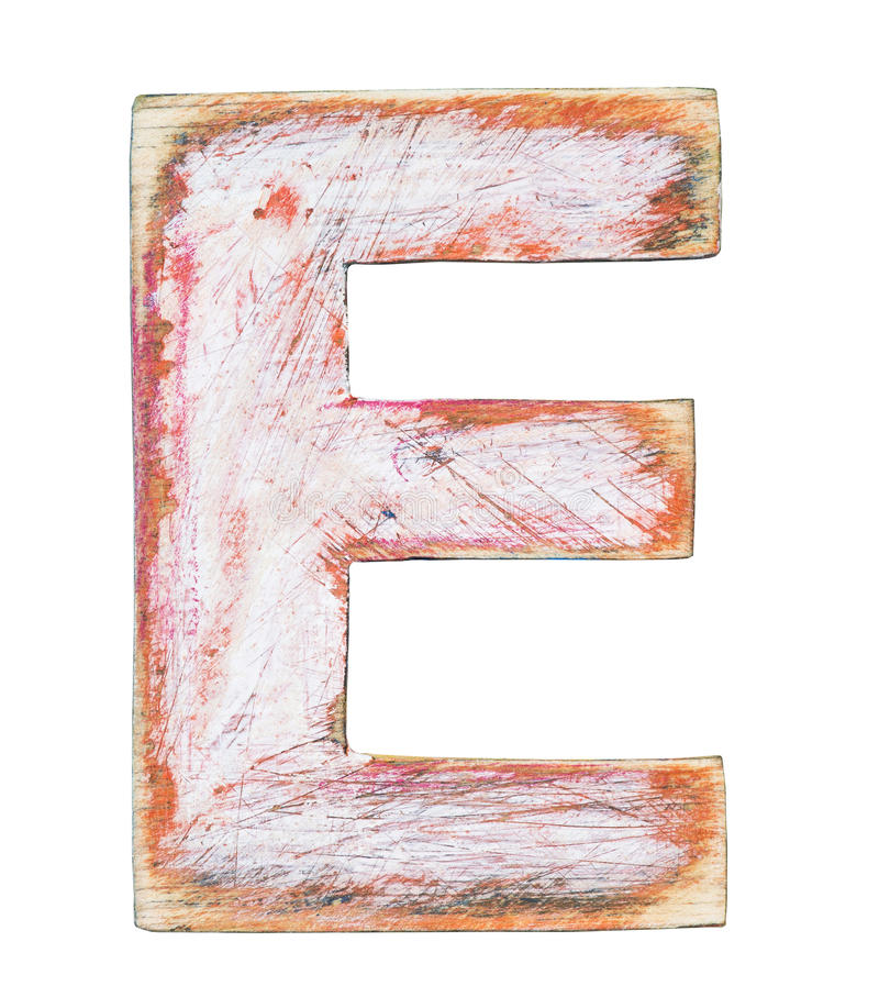Wooden alphabet. Painted wood alphabet, letter E royalty free stock image