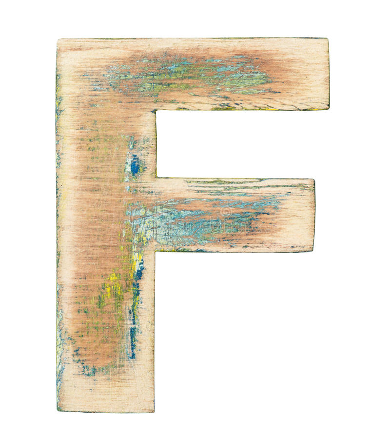 Wooden alphabet. Painted wood alphabet, letter F stock photo