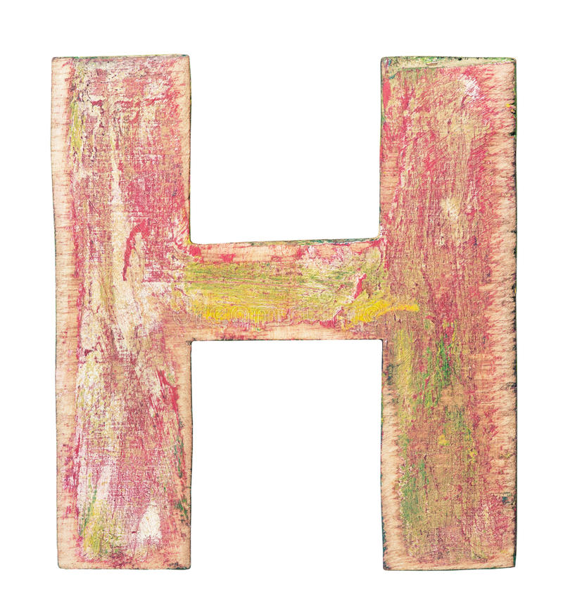 Wooden alphabet. Painted wood alphabet, letter H stock image
