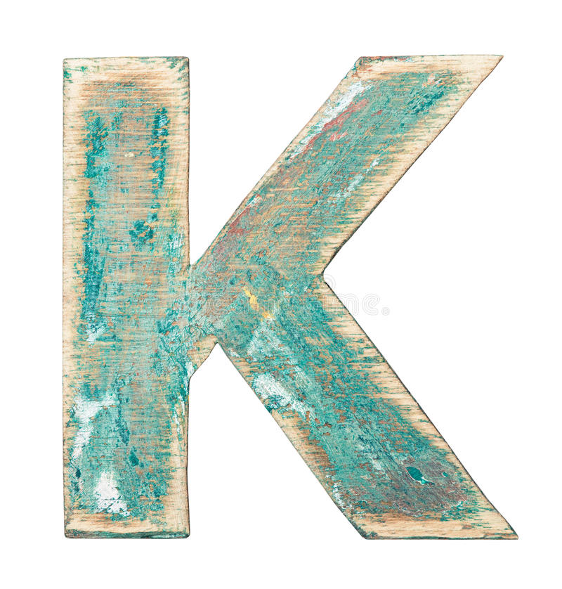 Wooden alphabet. Painted on wood alphabet, letter K stock photo