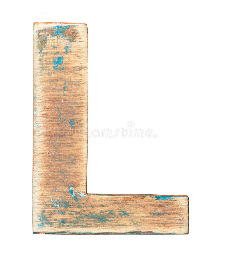 Wooden alphabet. Painted on wood alphabet, letter L stock image