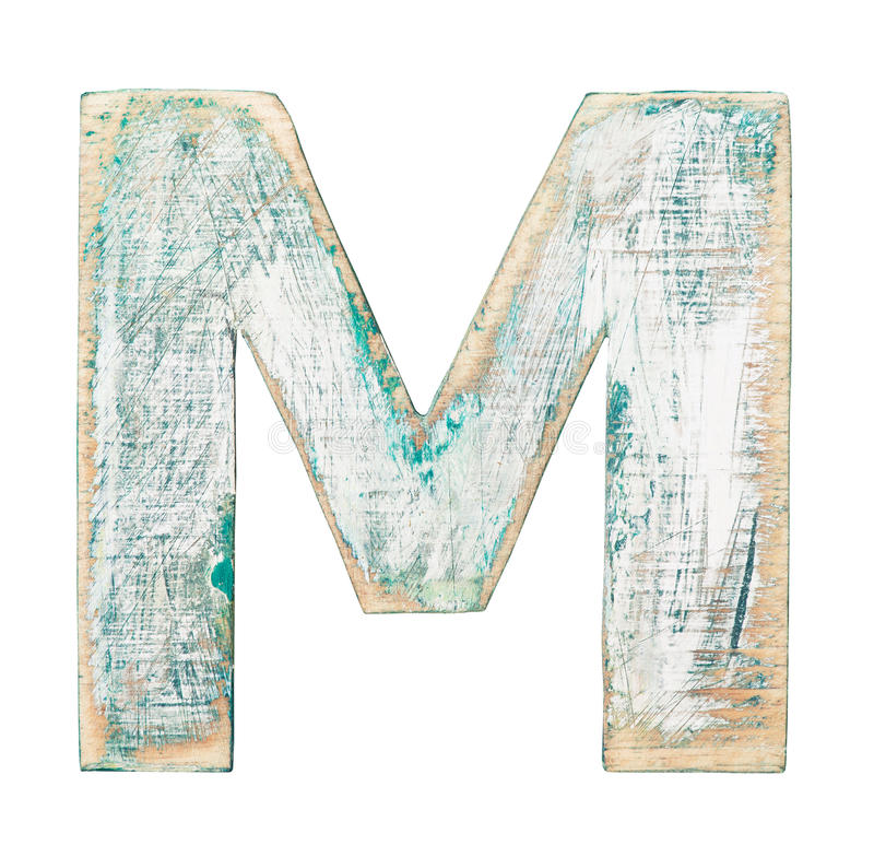 Wooden alphabet. Painted on wood alphabet, letter M stock photo