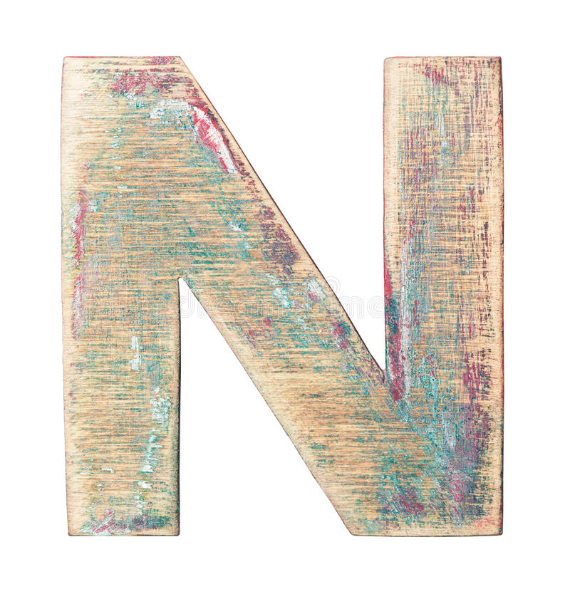 Wooden alphabet. Painted on wood alphabet, letter N stock photos