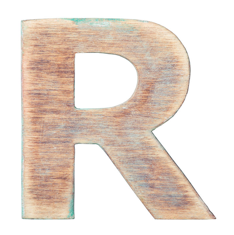 Wooden alphabet. Painted on wood alphabet, letter R stock images