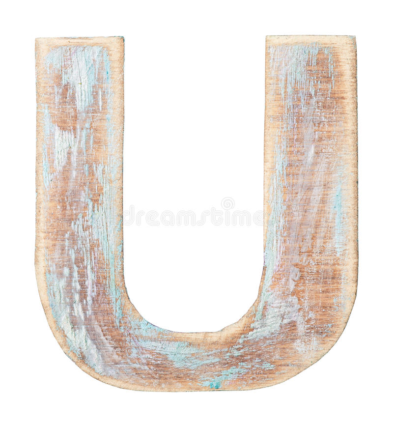 Wooden alphabet. Painted on wood alphabet, letter U royalty free stock photo