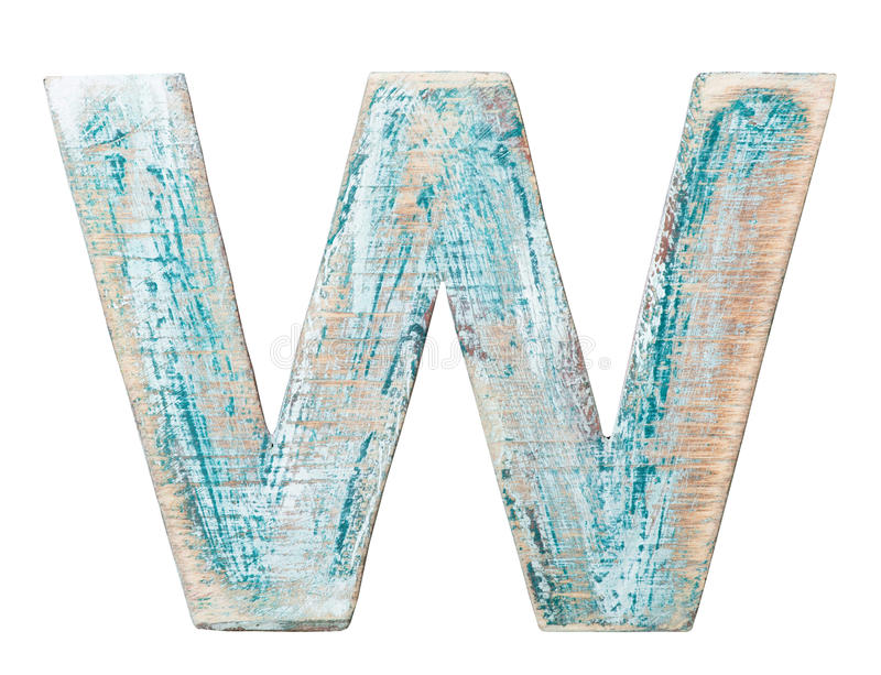 Wooden alphabet. Painted on wood alphabet, letter W stock images