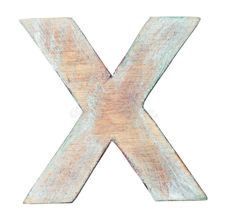 Wooden alphabet. Painted on wood alphabet, letter X stock image