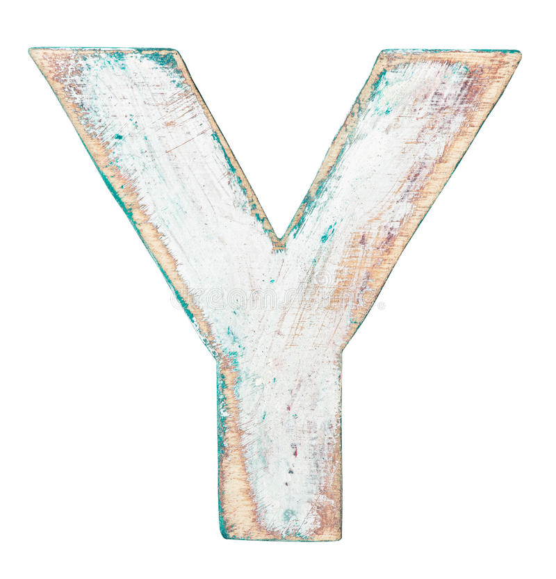 Wooden alphabet. Painted on wood alphabet, letter Y royalty free stock photography