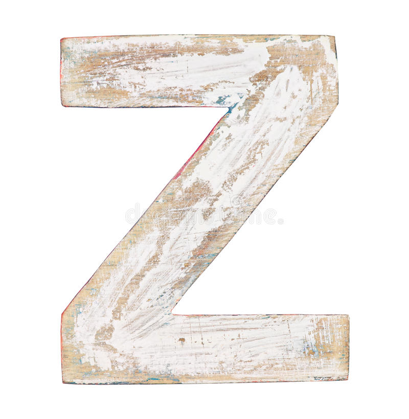 Wooden alphabet. Painted on wood alphabet, letter Z stock images