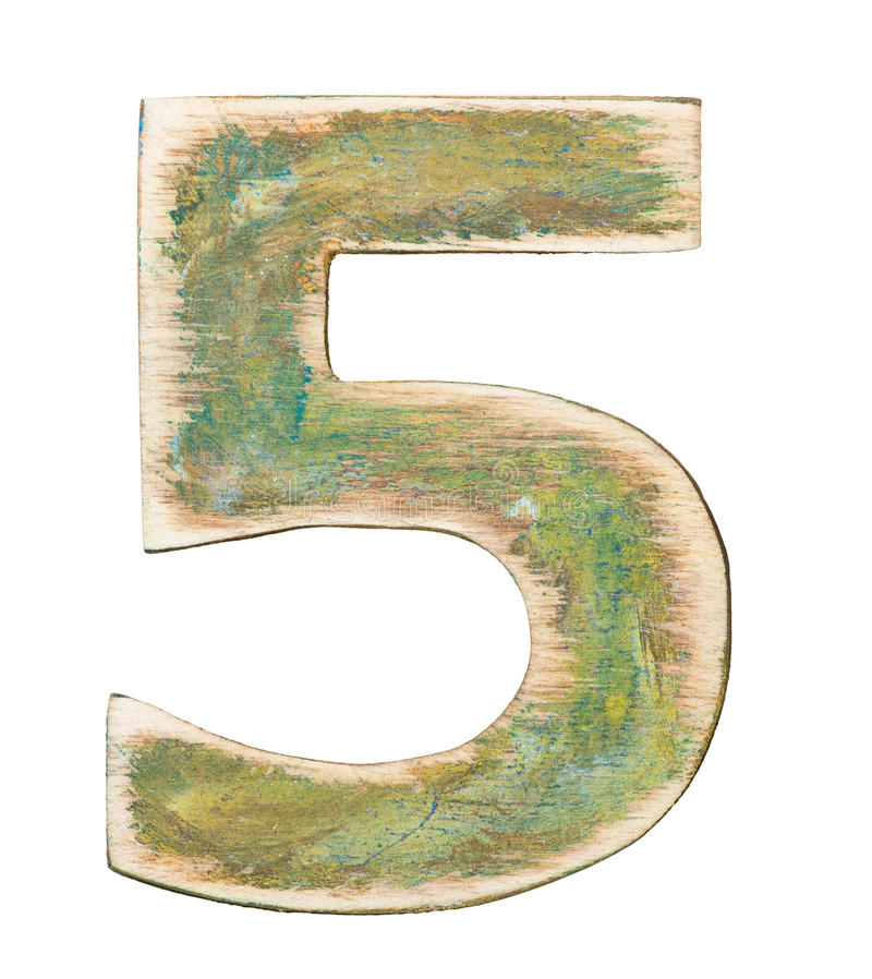 Wooden alphabet. Painted wood alphabet, number 5 stock photo