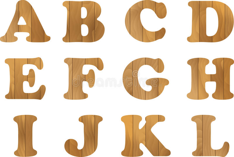 Wooden Alphabet, vector set with wood Letters, for Text Message, Title or Logos Design vector illustration