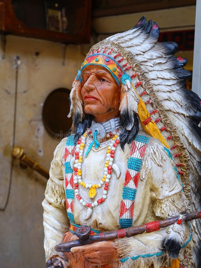 Wooden American Indian Figure royalty free stock photo