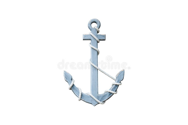 Wooden anchor. Isolated on white background stock photo