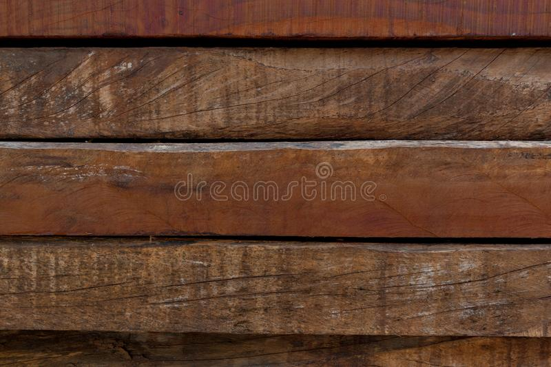 Wooden anchor. Pile of quebracho sleepers for background royalty free stock image