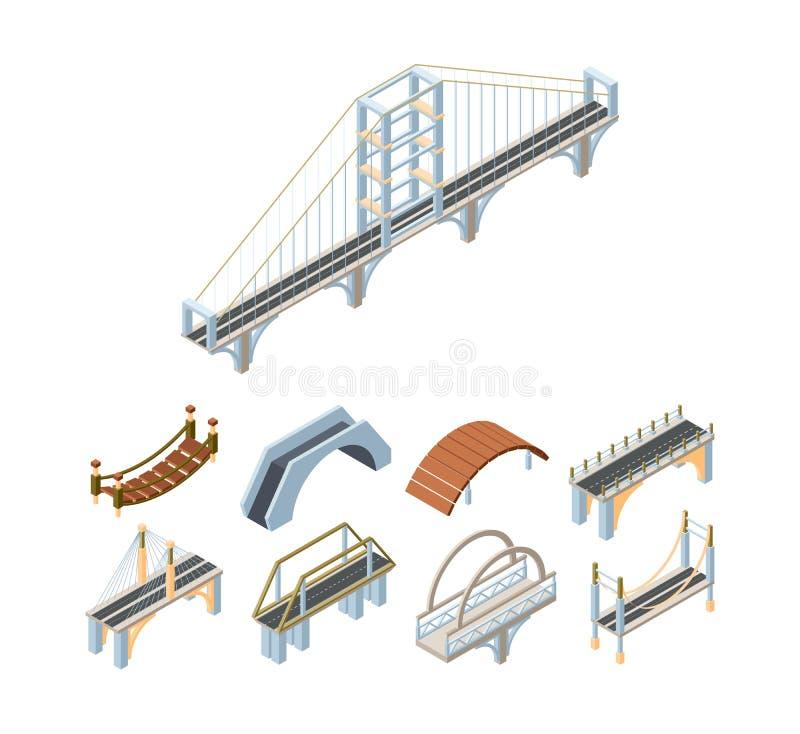 Free Wooden And Concrete Bridges Isometric 3D Vector Illustrations Set Stock Images - 164028174