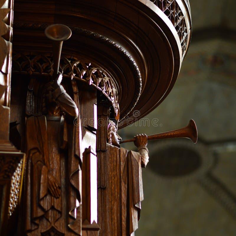 Wooden angel carvings in Rockefeller Chapel, Chicago. stock image