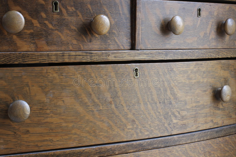 Wooden Antique Drawer Chest stock photo