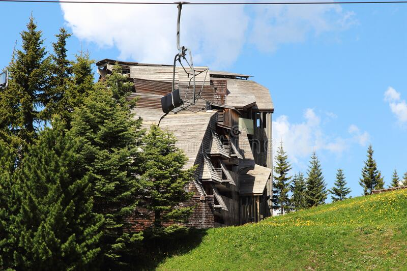 Wooden apartments with cable cars, Avoriaz, France stock images