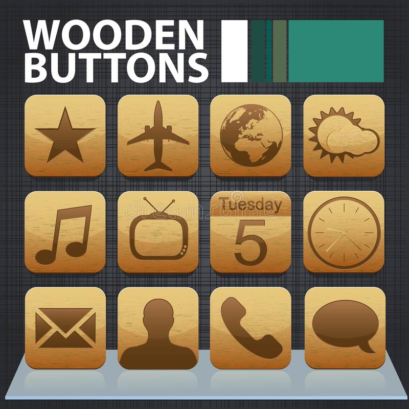 Download Wooden app buttons stock vector. Illustration of star - 28626853