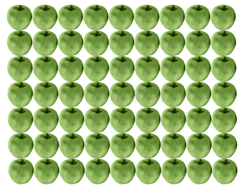 Wooden apples. Wooden green apple background stock photos