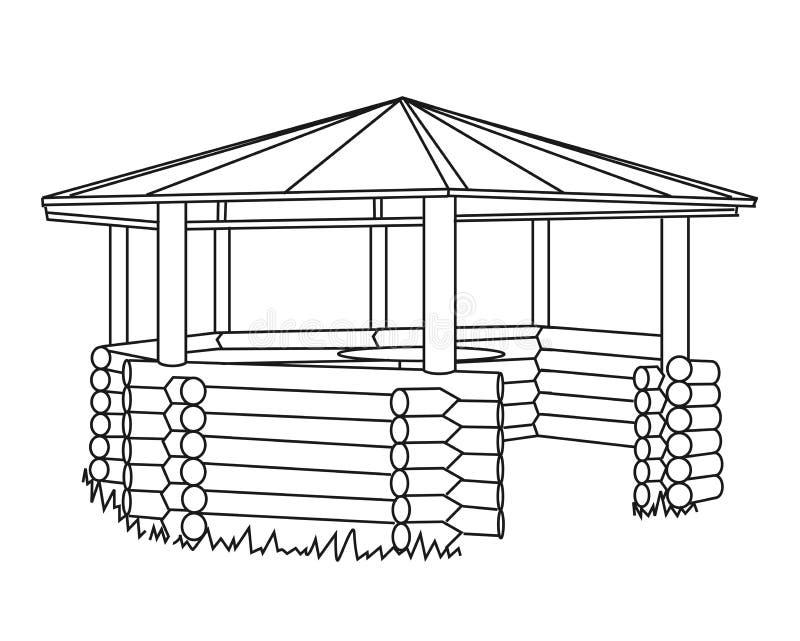 Wooden arbor on a white background. Silhouette. Illustration stock illustration