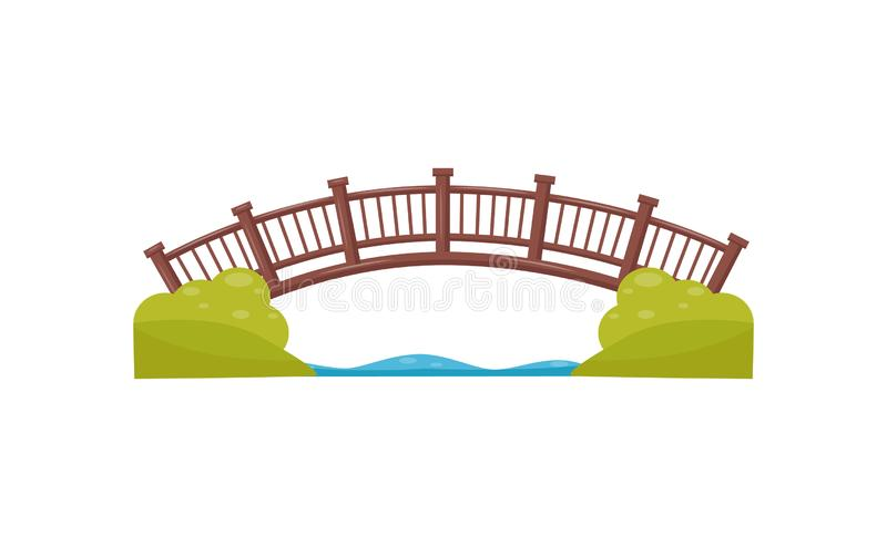 Wooden arch bridge. Walkway across the river. Footbridge made of wood. Flat vector element for map of city park vector illustration