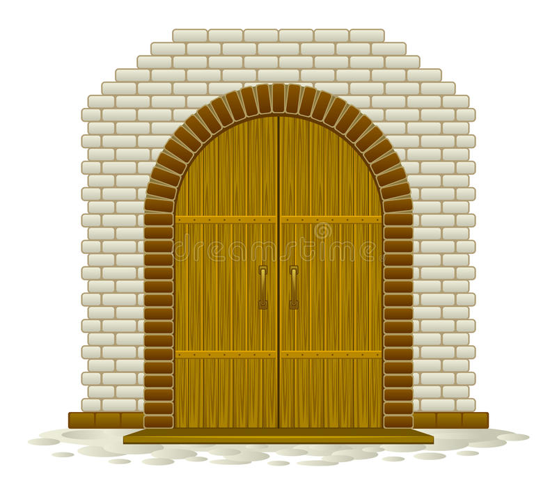 Wooden arched. Door in a brick wall royalty free illustration