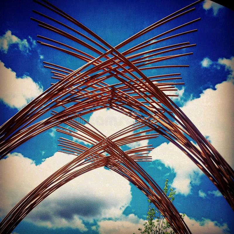 Wooden arches - Dallas Arb. Wooden arches at Dallas Arbouretum stock photography