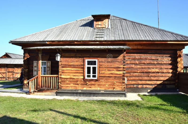 Wooden architecture. Old Russian village. Wooden houses. Russia. stock photo