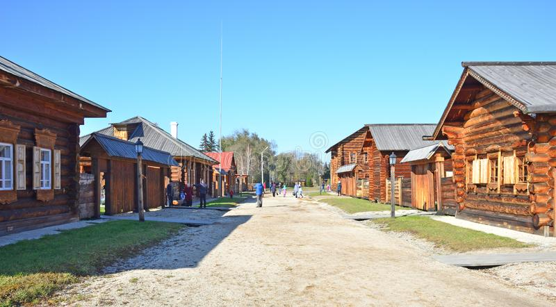 Wooden architecture. Old Russian village. Wooden houses. royalty free stock images