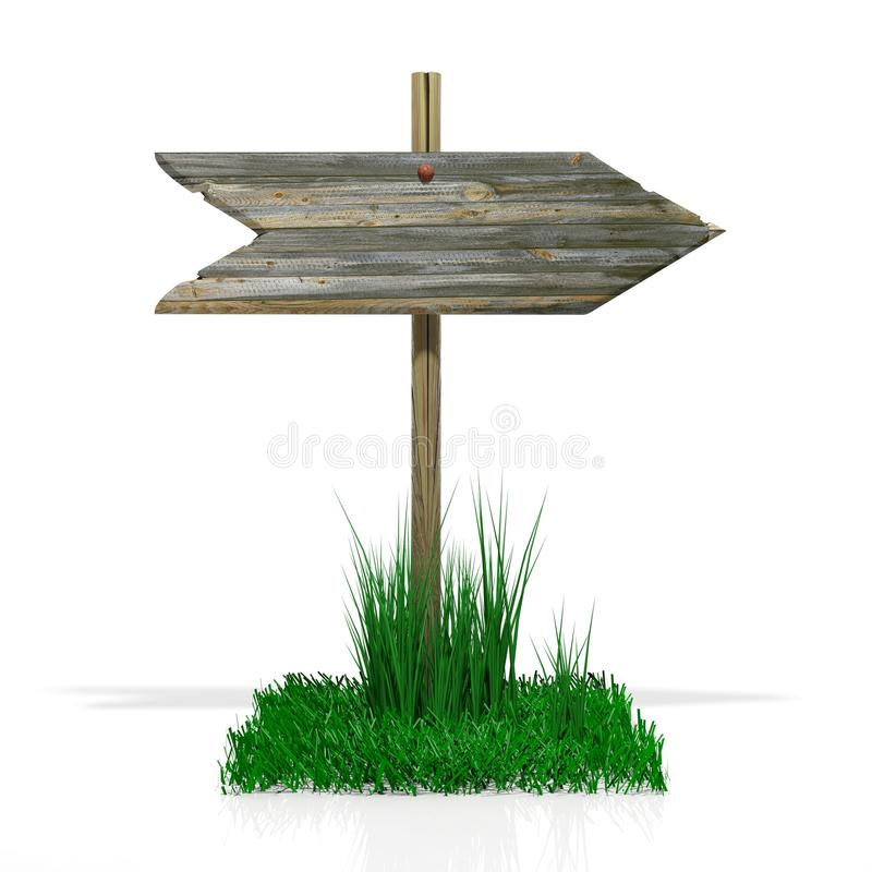 Wooden arrow road sign. Isolated on white vector illustration