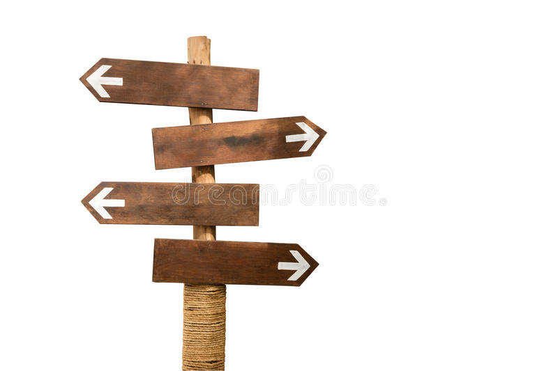 Wooden arrow sign post isolated on white with path stock photo