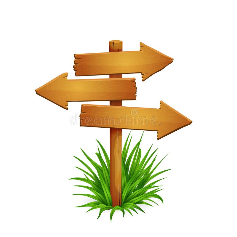 Wooden arrow signpost. Illustration of rickety wooden arrow signpost with arrows pointing in different directions with grass isolated on white background royalty free illustration