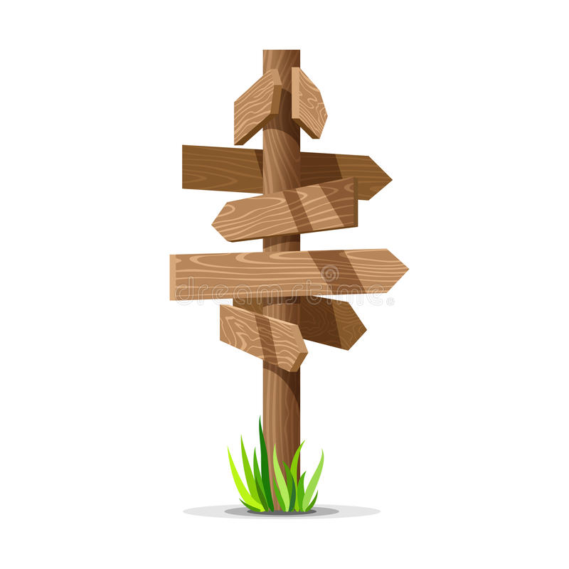 Wooden arrow vector empty signboard. Wood sign post concept with grass. Board pointer illustration isolated on a white background vector illustration